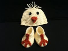 "Baby Spring Easter Chick Hat and ""Chick Feet"" Booties- READY TO SHIP for only $28 Newborn to 3 months - Great Photo Prop - Hand Crochet Beanie and Shoes  Those little booties are SO cute!"