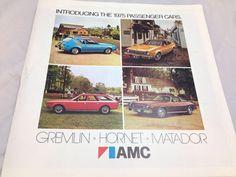 Vintage 1975 AMC Pacer Gremlin Hornet Matador Advertising Sales Brochure Booklet
