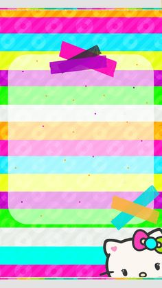 Colorful Striped Wallpaper with Pink Striped Wallpaper, Pink Wallpaper, Wallpaper Backgrounds, Hello Kitty Backgrounds, Hello Kitty Wallpaper, Hello Kitty Pictures, Cute Wallpapers, Iphone Wallpapers, Borders For Paper