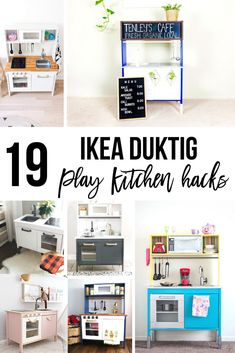 19 Fun Ikea play kitchen hacks and makeovers to inspire you to create a children\'s play kitchen they will love! Transform the plain Jane Ikea Duktig play kitchen to the play kitchen of their dreams! Discover your favorite way to add personality with these Ikea toy kitchen makeover ideas!