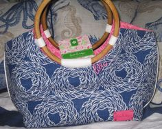Lilly Pulitzer Blue & Wh Canvas & Leather Tote Pre-own looks exc &Free Lilly Pad #LillyPulitzer #TotesShoppers BUY FROM ME, 6350 POSITIVE FEEDBACKS 0 NEG, 15+ YRS EXPERIENCE ON SALE $39 ,TRISHA/ HALL4SALE @EBAY