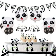Latex Ballons Alles Gute zum Geburtstag Banner Cupcake Toppers f/ür Panda Geburtstag Party Baby Shower KREATWOW Panda Party Dekorationen geh/ören Panda Mylar Balloons