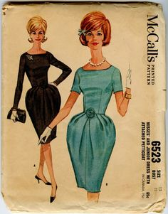 1960s Vintage Dress Pattern McCall's 6523 Misses Tulip Shaped Cocktail Dress Bust 32 UNCUT