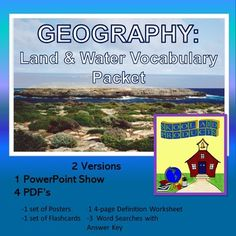 Teach your students the academic vocabulary terms for geography using 43 colorful slides. Covering 37 land and water terms this presentation introduces middle schoolers to the academic vocabulary used in their textbooks. In addition to a visual presentation the slides can be made into posters for Geography Map, Academic Vocabulary, Love Teacher, Social Studies Classroom, Middle Schoolers, Phonics Activities, Australian Curriculum, Creative Teaching, World History