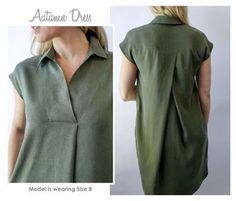 Autumn Dress Versatile throw on dress with style, extended shoulder and interesting pleats – Kalle shirtdress hack inspiration - Global Outfit Experts Dress Sewing Patterns, Blouse Patterns, Clothing Patterns, Sewing Clothes Women, Clothes For Women, Le Polo, Tunic Pattern, Shirt Dress Pattern, Mode Hijab