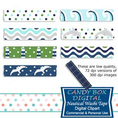Nautical Beach Digital Washi Tape Clipart by CandyBoxDigital. Waves, lighthouses, seagulls, dolphins. Great digital washi tape for digital scrapbooks and journals, blogs and websites, graphic designs, invitations, and all kinds of paper craft applications. At our Etsy shop.