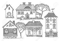17215616-Cartoon-hand-drawing-houses-Stock-Vector-house-drawn-hand.jpg (1300×895)