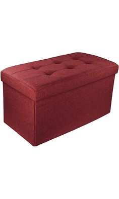 "Upholstered Folding Storage Ottoman with Padded Seat, 30"" x 16"" x 16"" - Burgundy Best Price"