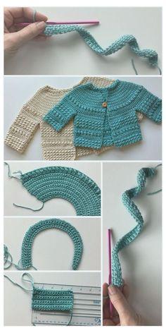 Crochet Baby Sweater Pattern, Crochet Baby Sweaters, Baby Sweater Patterns, Baby Clothes Patterns, Crochet Baby Clothes, Baby Knitting Patterns, Baby Patterns, Knit Crochet, Crochet Baby Stuff