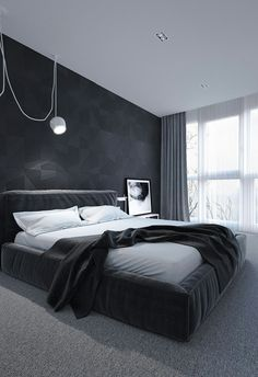 dark bedroom dark bedroom Dark Bedroom Inspiration for A Good Nights Sleep black and white bedroom design Modern Bedroom Design, Bed Design, Bedroom Designs, Modern Mens Bedroom, Dream Bedroom, Home Decor Bedroom, Bedroom Ideas, Bed Ideas, Bedroom Black
