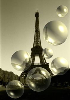 Bubbly Eiffel Tower Photo....