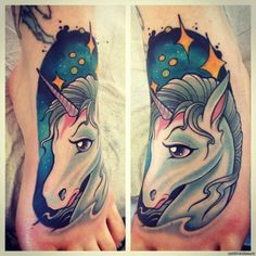 If you are looking for a daring tattoo design, unicorn will be a great choice for you. There is no denying that unicorn art is one of the most sought after tattoo designs. Swirl Tattoo, 1 Tattoo, Tattoo Motive, Best Tattoo Designs, Tattoo Designs For Women, Tattoos For Women, Foot Tattoos, Life Tattoos, Sleeve Tattoos
