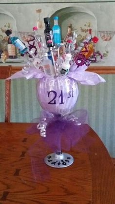 Wine glass 21st Birthday shot bouquet