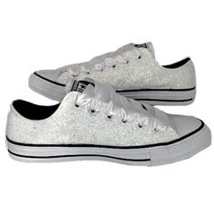 Womens White Ivory Glitter Converse Bling shoes Wedding bride sneakers – Glitter  Shoe Co Bride Sneakers 0fe19de75