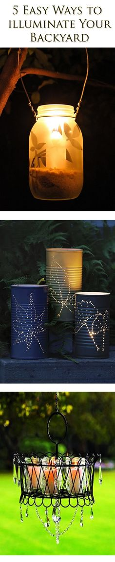 (3 out 5 shown) Summer is almost here...how about these awesome DIY backyard lighting ideas? #DIY #Garden #gardenlight