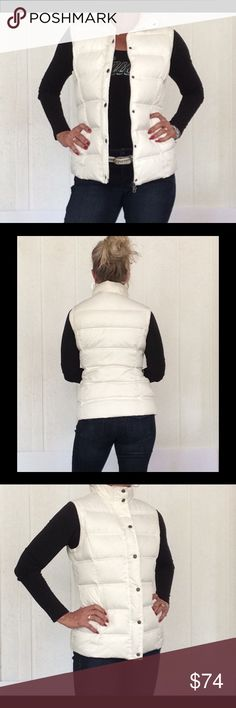 """NWT FOSSIL DOWN PUFFER QUILTED VEST Awesome is the only way to describe this incredible down filled quilted puffer vest. Snow White and super comfy cozy down will keep you warm in the Fall months! Received as a gift so holiday gift tags still attached for your gift giving! Bust measures 19"""" length is 24-1/2"""". Full zip all the way up to keep neck warm. Also has metal snaps and placket to hide zipper. Excellent condition! 60% down and 40% feather interior. Adorable red polka dot polyester lining.  White Puffer Vest, Fall Months, Quilted Vest, Neck Warmer, Fashion Design, Fashion Tips, Fashion Trends, Fossil, Gift Tags"""