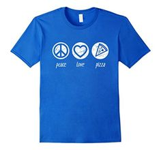 Men's Peace Love Pizza Shirt | Premium Best Food T-Shirt 2XL Royal Blue - Brought to you by Avarsha.com