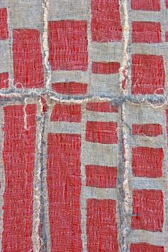 "Detroit Foreclosure Quilt detail, 22"" x 44"" Cheesecloth, linen, cotton and quilting thread. SOLD"