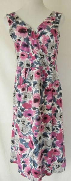 GARNET HILL Floral Print Sleeveless Empire Dress M Jersey Knit Pink Red Blue #GarnetHill #SundressEmpireWaist #Casual