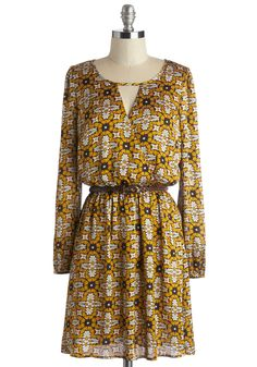 Confident About Your Charm Dress. Youre feeling beautifully bold in this silky patterned dress! #yellow #modcloth