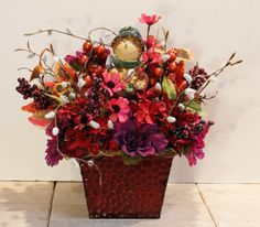 Fall Boy Scarecrow Red Hydrangea Floral Arrangement by PamsDeZines