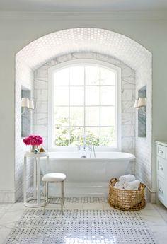 perfect layout for bathtub in master bath. Bathtub alcove with big window