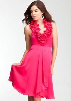 bebe Ruffle Halter Satin Dress Bebe Bridal Bright « Dress Adds Everyday