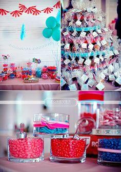 carnival wedding table setup