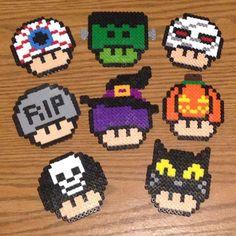Halloween mushrooms perler beads by adobixartsandcreations