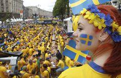 Sweden soccer fans // fan zone in Kiev