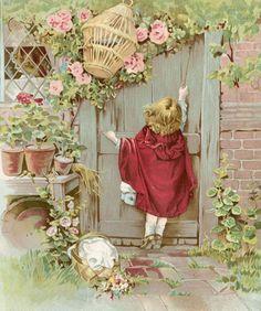 Little Red Riding Hood Vintage Book Illustration