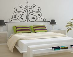 I move around my bed and don't know how practical this would be for me. Great looking and easy headboard nonetheless. Dream Bedroom, Master Bedroom, Wall Tattoo, Dali, Guest Room, Beautiful Homes, Bedroom Ideas, Diy And Crafts, Bedrooms
