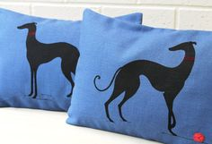 Hand printed Greyhound decorative cushion on blue linen/cotton accent throw cushion. via Etsy