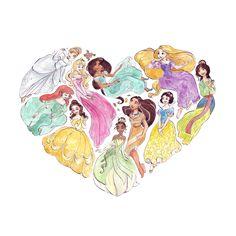"""""""I heart princesses"""" tshirt - Design by Taijavigilia"""