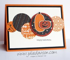 Julie's Stamping Spot -- Stampin' Up! Project Ideas by Julie Davison: Spooky Night Circles Halloween Card Diy Halloween Decorations, Halloween Cards, Halloween Ideas, Fall Cards, Holiday Cards, Simple Christmas Cards, Card Sketches, Scrapbook Sketches, Thanksgiving Cards