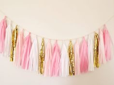 Pink and Gold Tassel Garland - Party Decor, Birthday Party Decor, Wedding Decor, Nursery Decor, Baby Shower, Pink Decor & Photo Prop on Etsy, $28.00