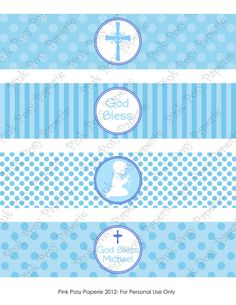 Printable Boy First Communion Blue Water Bottle by PinkPosyPaperie, $4.00
