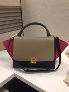MEDIUM TRAPEZE HANDBAG IN PINK MULTICOLOUR SMOOTH CALFSKIN 30 X 24 ...