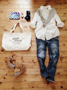 アクセサリー/atelier bloom 新作 アクアマリンちょうちょピアス アクアマリンちょうちょネックレス シャツ/nano・universe(used) デニム/Levi's カーディガン/UNIQLO ポーチ/marimekko bag/MAISON KITSUNE shoes/nano・universe #WhiteShirts #Jeans #StrawWedges #Spring #Style #Outfits #Casual #Women