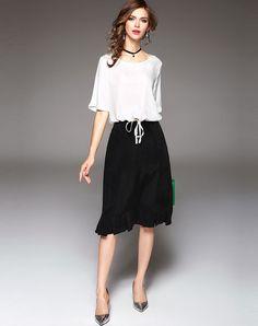 White Plain Lace-Up Top & Black Ruffles Midi Skirt 2PCS Set, Black White, Ewheat - VIPme