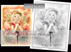 GRAYSCALE, Printable, Instant download, Digital Stamp, Coloring page, Christmas, Winter Holidays, Art of Janna Prosvirina Coloring Books, Coloring Pages, Create Collage, Fairs And Festivals, China Painting, Digi Stamps, Collage Sheet, Winter Holidays, Faeries