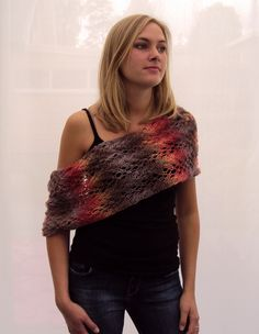 Romantic Lace Knitted Wool Shawl/Cowl/Shrug