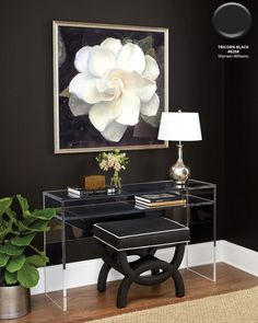 Vanity space with black walls in Sherwin Williams Tricorn Black with acrylic console, oversize white floral art, and a black and white seat Source by ballarddesigns decor white Asian Home Decor, White Home Decor, Black Decor, Diy Home Decor, White Dining Room Sets, White Rooms, Dining Rooms, Style Deco, Interior Decorating