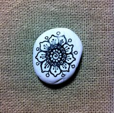 Mandala Painted White Pebble