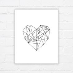Coeur Estampe - affiche imprimable - art moderne - impression noir et blanc art imprimable géométrique - valentines imprimables - - téléchargement immédiat par WhereisAlex sur Etsy https://www.etsy.com/fr/listing/193545852/coeur-estampe-affiche-imprimable-art