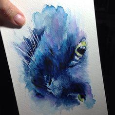 Sandy Allnock - Kuretake Gansai Tambi watercolor kitty painting