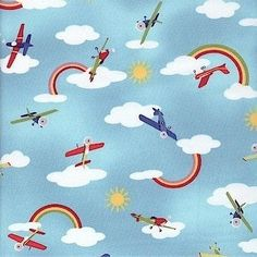 Michael Miller Fly Away Planes in the Sky 100% Cotton Fabric FQ Yardage Clouds | eBay