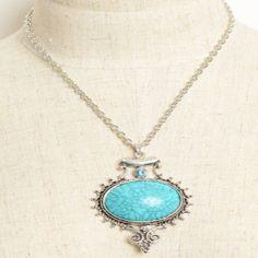 Large Vintage Gem Stone Necklace in Aqua