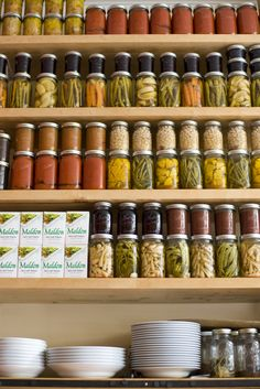 siiiigh loook at all the jars, perfectly lined up - pantry dream! pantry inspiration! DOC store in Portland, OR. photography by Lisa Warninger