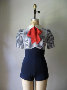 vintage 1940s to 1950s playsuit / amazing red white blue sailor romper peter pan collar puff sleeve.